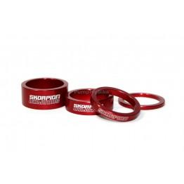 Спейсъри Skorpion алуминиеви, комплект 4 бр. - червени