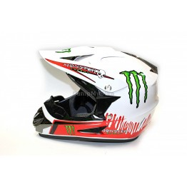 Каска FullFace Monster Energy - M - бяла